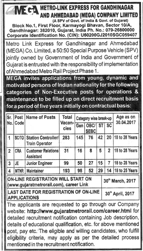 Gujarat Metro Rail Recruitment 2017