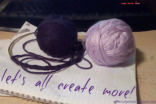 "Two balls of purple yarn sitting on top of a spiral note book.  One ball of yarn is attached to a metal hoop.  Text reads, ""Let's create more."""