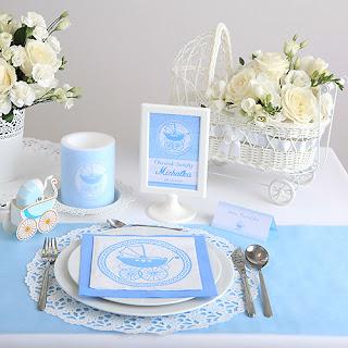 Błękitne dekoracje na Chrzest Święty chłopca