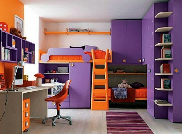 Bunk Bed With Stairs In Orange