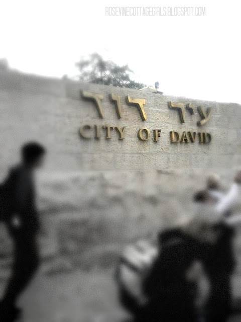 Golden lettering of The City of David Israel