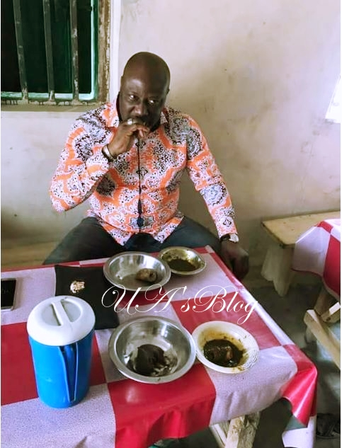 Senator Dino Melaye Eating At A Local Buka (Photo)