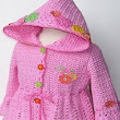 crochet jacket with hooded in pink tone
