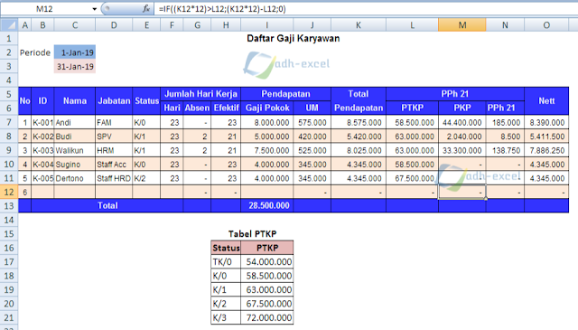 salary calculation in excel