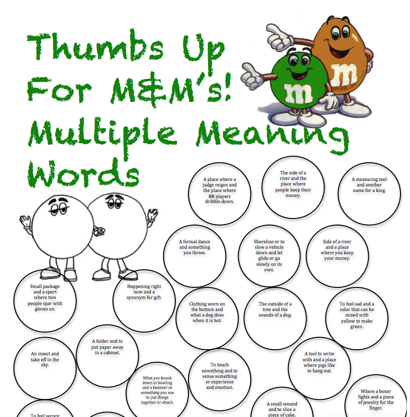 Peachy Speechie Multiple Meaning Worksheet And Contest