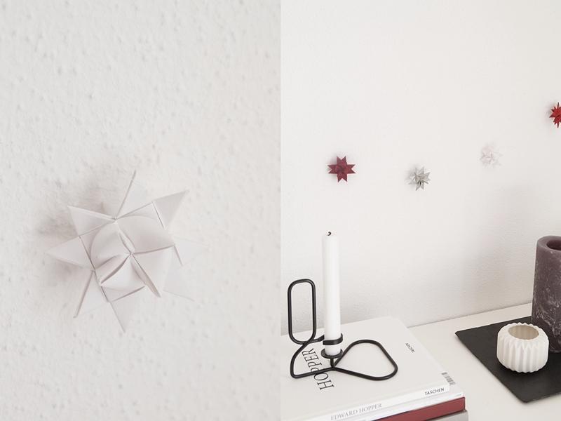 DIY Girlande aus Fröbelsternen als Weihnachtsdeko basteln. Fröbelsterne Deko Wanddeko Girlande einfach selber machen. Tastebokott Blog.