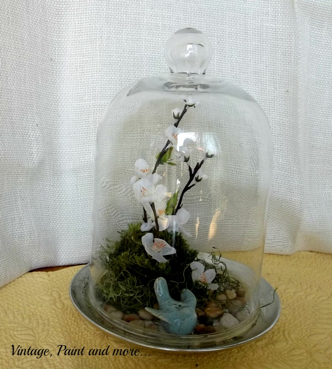 Spring in a Cloche - little bluebird and faux flower Spring vignette