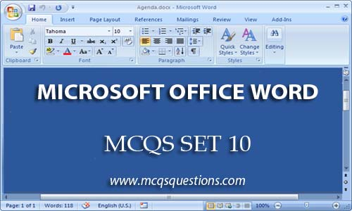 ms word mcqs set 10