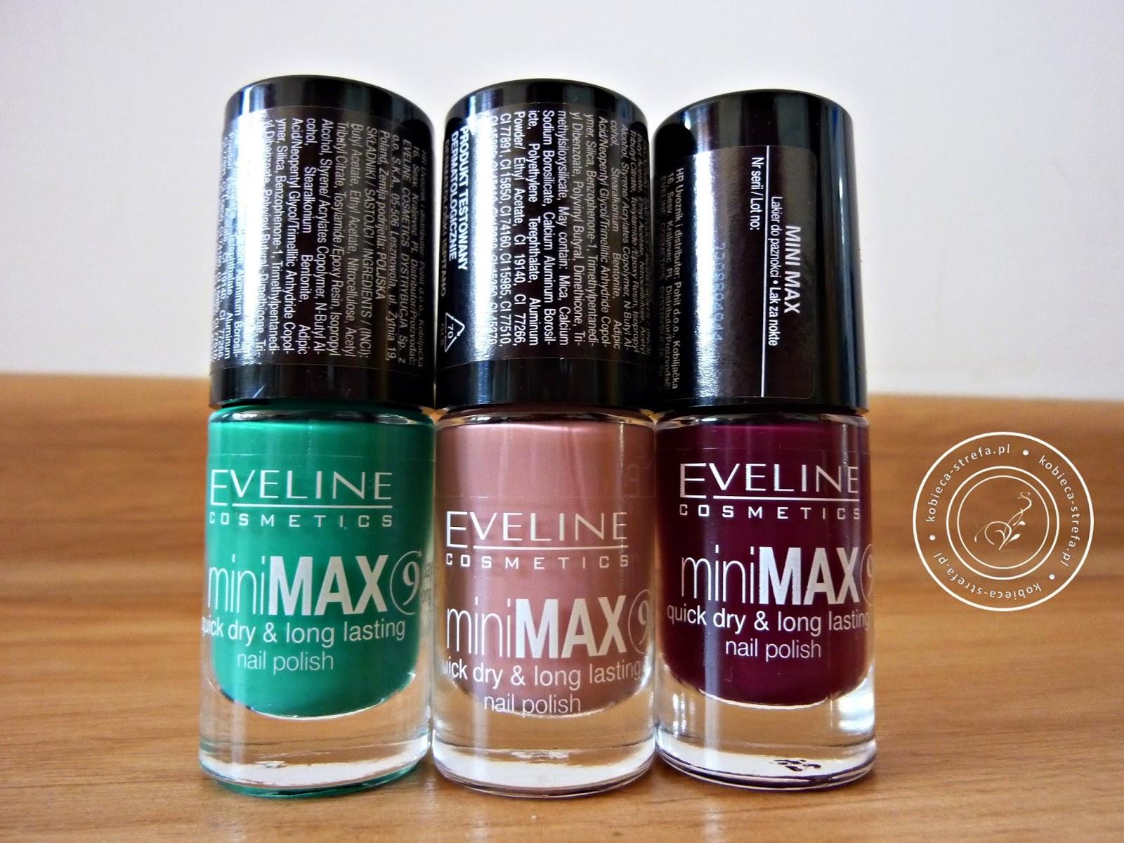 miniMAX - Eveline Cosmetics - szybko schnące i długotrwałe lakiery do paznokci nr 839, 685, 836 - 9 days long