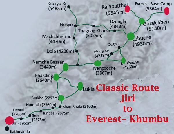 21 days jiri to ebc trek route map