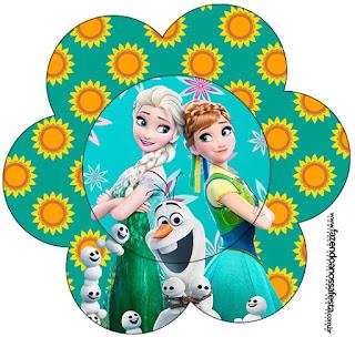 Tarjeta con forma de flor de Frozen Fiebre Congelada.
