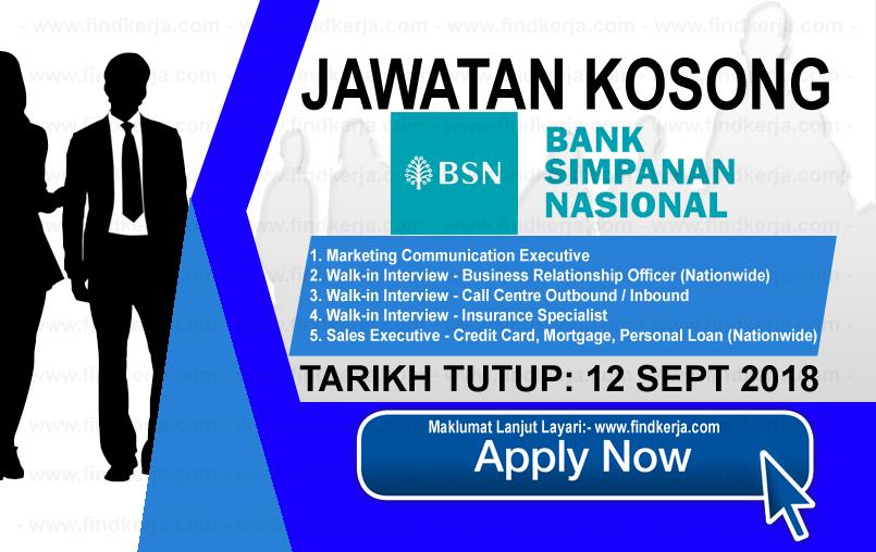 Jawatan Kerja Kosong BSN - Bank Simpanan Nasiona logo www.ohjob.info www.findkerja.com september 2018