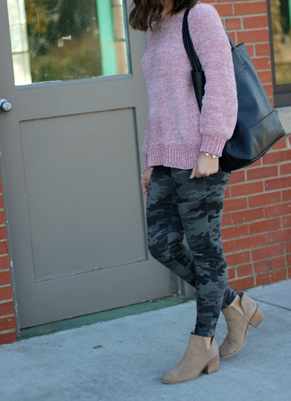 style on a budget, north carolina blog, pink chenille sweater, camo jeggings, mom style