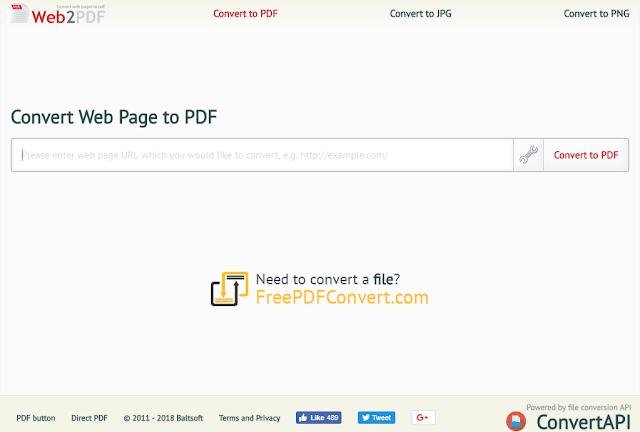 Web2PDF, Convertire una pagina web in PDF
