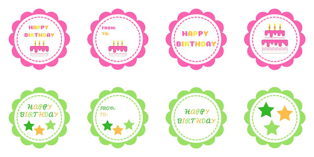 Happy Birthday gift tags - free printable