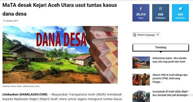 MaTA desak Kejari Aceh Utara Usut Tuntas Kasus Dana Desa