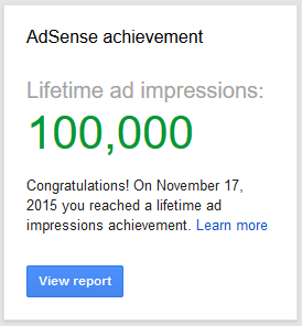 AdSense achievement card