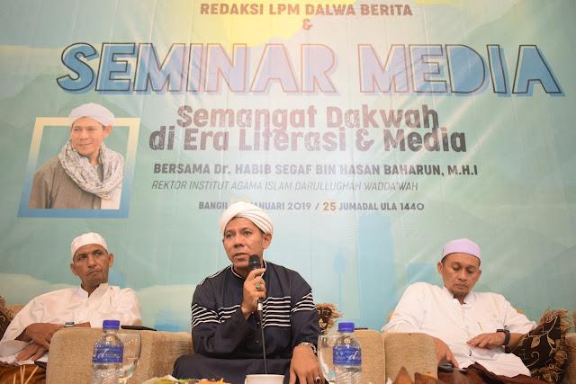 Sharing Pengalaman Da'wah Dr. Habib Segaf Baharun di Seminar Media Dalwa | lpm Dalwa | Dalwa