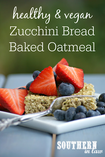 Healthy Vegan Zucchini Bread Baked Oatmeal Recipe - Baked Zoats - Clean eating recipe, gluten free, low fat, egg free, nut free, vegan,  dairy free, hidden serve of vegetables