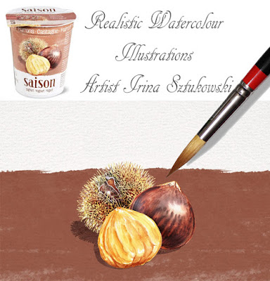 Chestnut Migros Saison Yogurt with watercolour illustrations by Irina Sztukowski