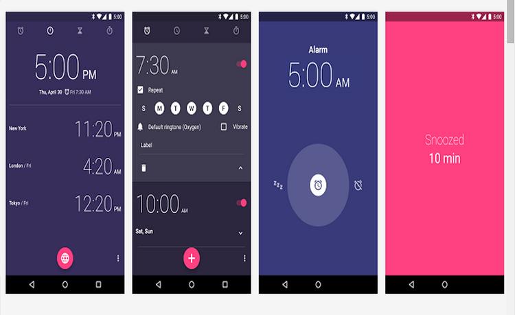 تطبيق غووغل Clock مجانا على متجر غووغل بلاي مع تصميم Material Design