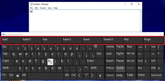 Gợi ý gõ từ trong bàn phím ảo trên windows