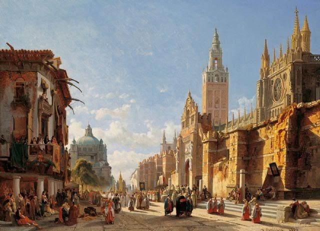 Francois Bossuet - Procesión en Sevilla - 1873