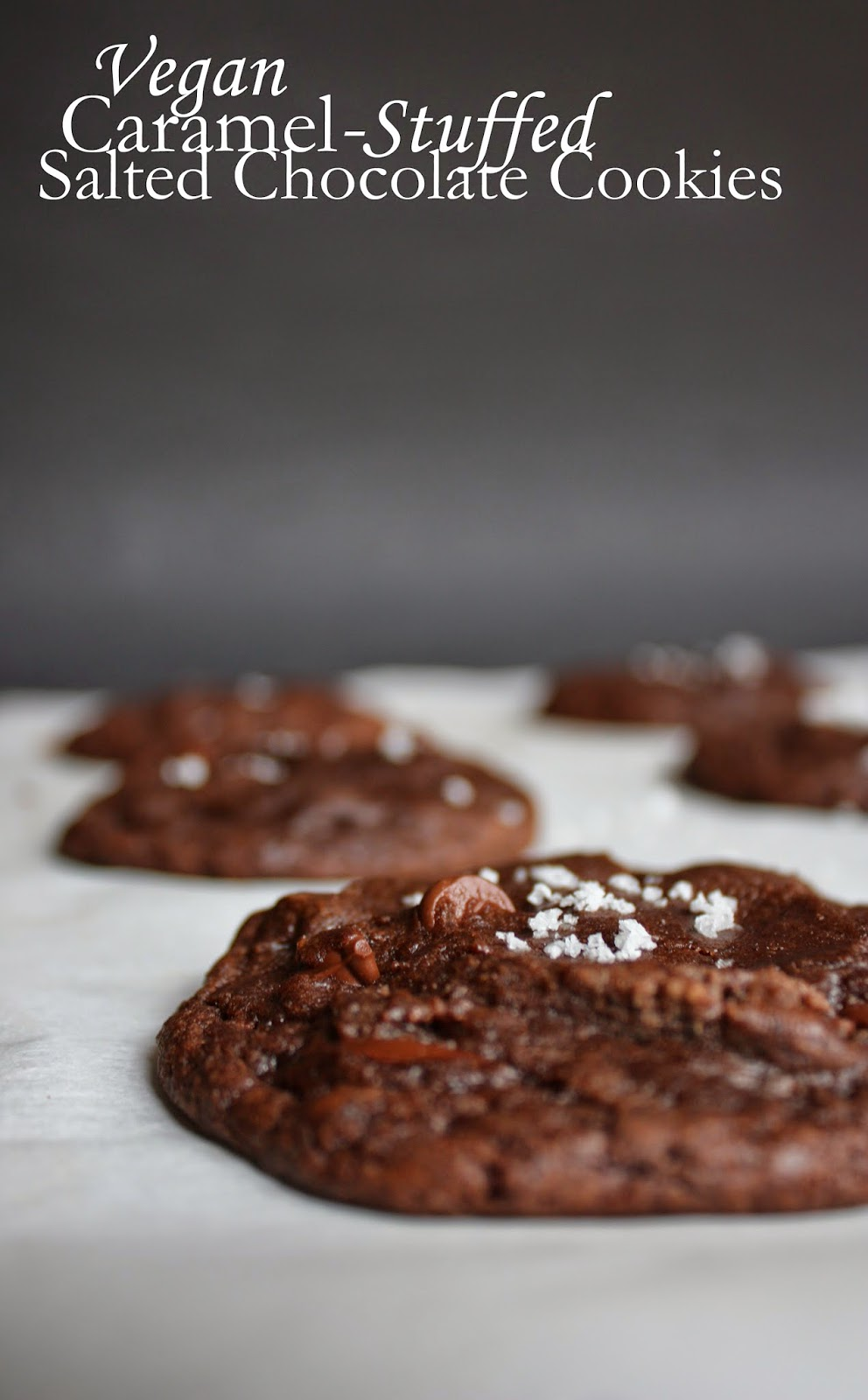 Vegan salted double chocolate cookies stuffed with homemade caramels