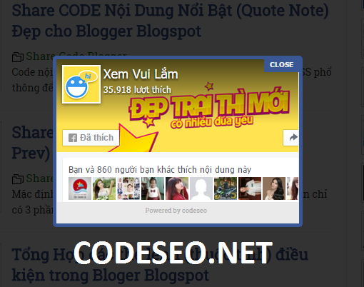 Share CODE POPUP Like Fanpage FaceBook Đẹp cho Blogger Blogspot