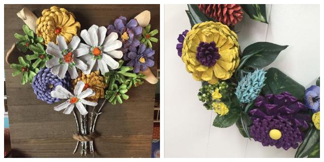 DIY PINE CONE FLOWERS