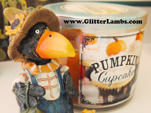 Bath And Body Works Pumpkin Cupcake Candle and plastic resin crow by Glitter Lambs