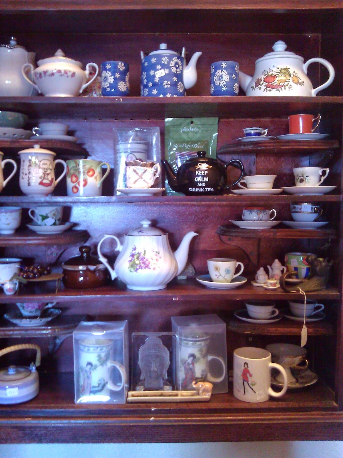 Display of Tea pots and cups
