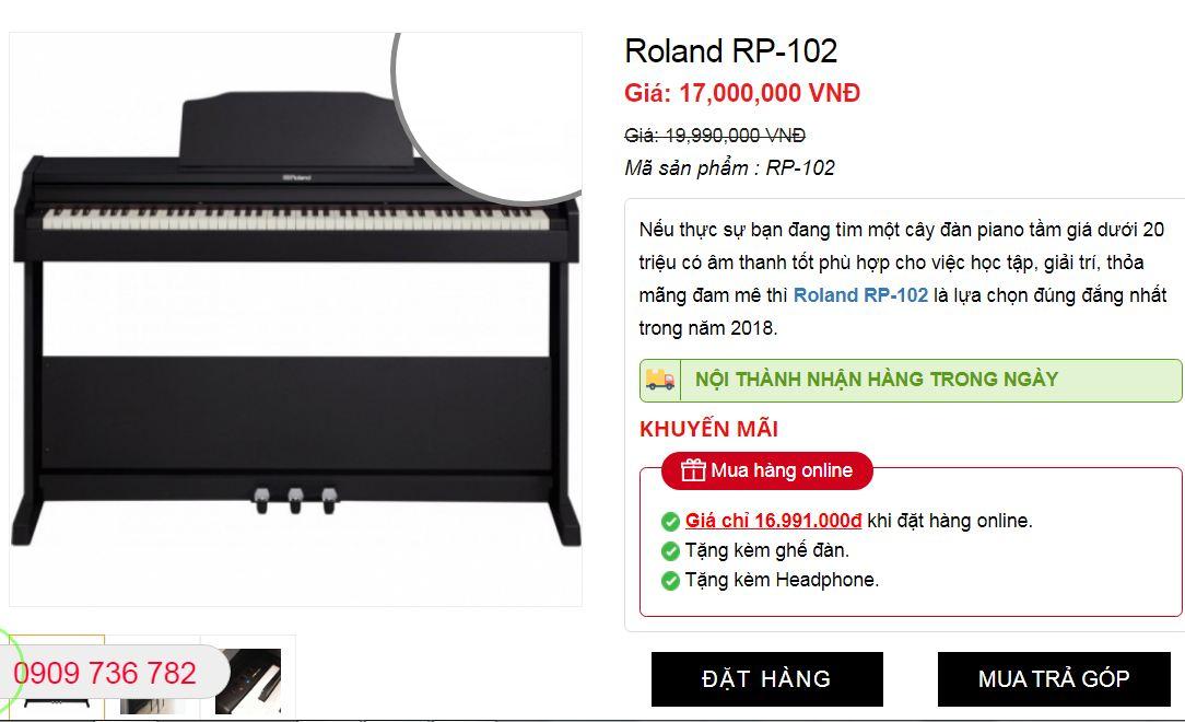 giá thành piano ROland rp-102