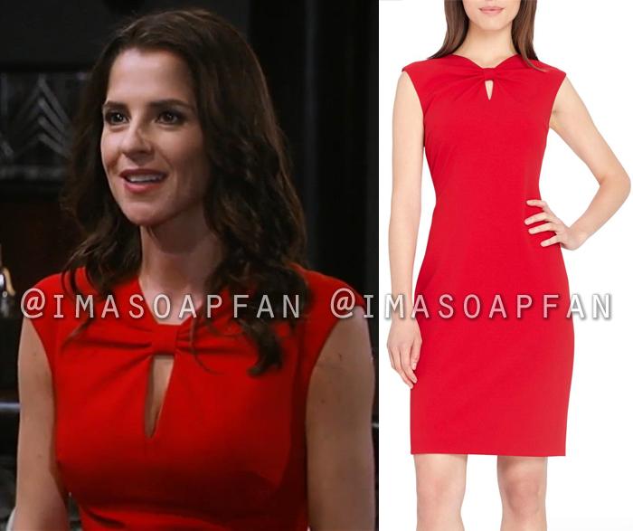 Sam Morgan, Kelly Monaco, Red Sheath Dress with Bow Neckline, General Hospital, GH
