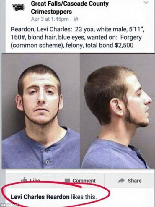 """Le da like a """"Se busca"""" en Facebook y es arrestado"""