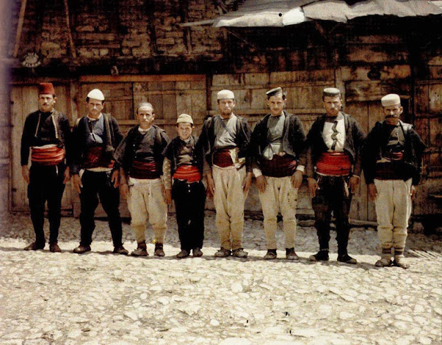 Men in traditional costumes. Their caps allows differentiating between them. Turkish are with red caps, the Albanians with white caps and the Macedonians with the black caps. Macedonia in 1913