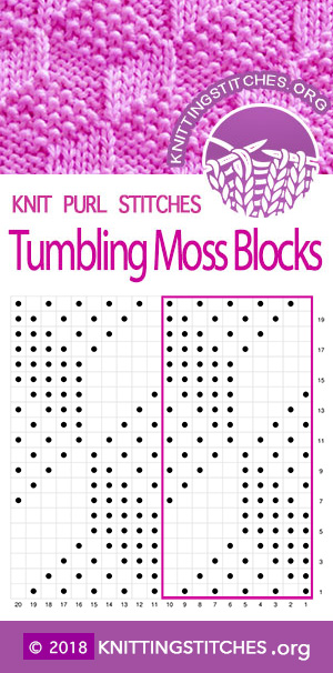 Tumbling Moss Blocks Knit Purl Chart. Multiple of 10 sts. #knitpurl #knitting #easytoknit
