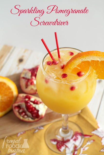 This bubbly and bright Sparkling Pomegranate Screwdriver is a fall twist on a classic cocktail.