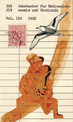 seagull heraldic lion Belgium postage stamp Indian South Asian erotic art sex library due date card Dada Fluxus mail art collage