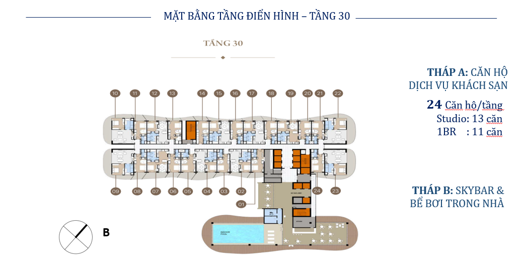 Măt bằng tầng 30 Citadines