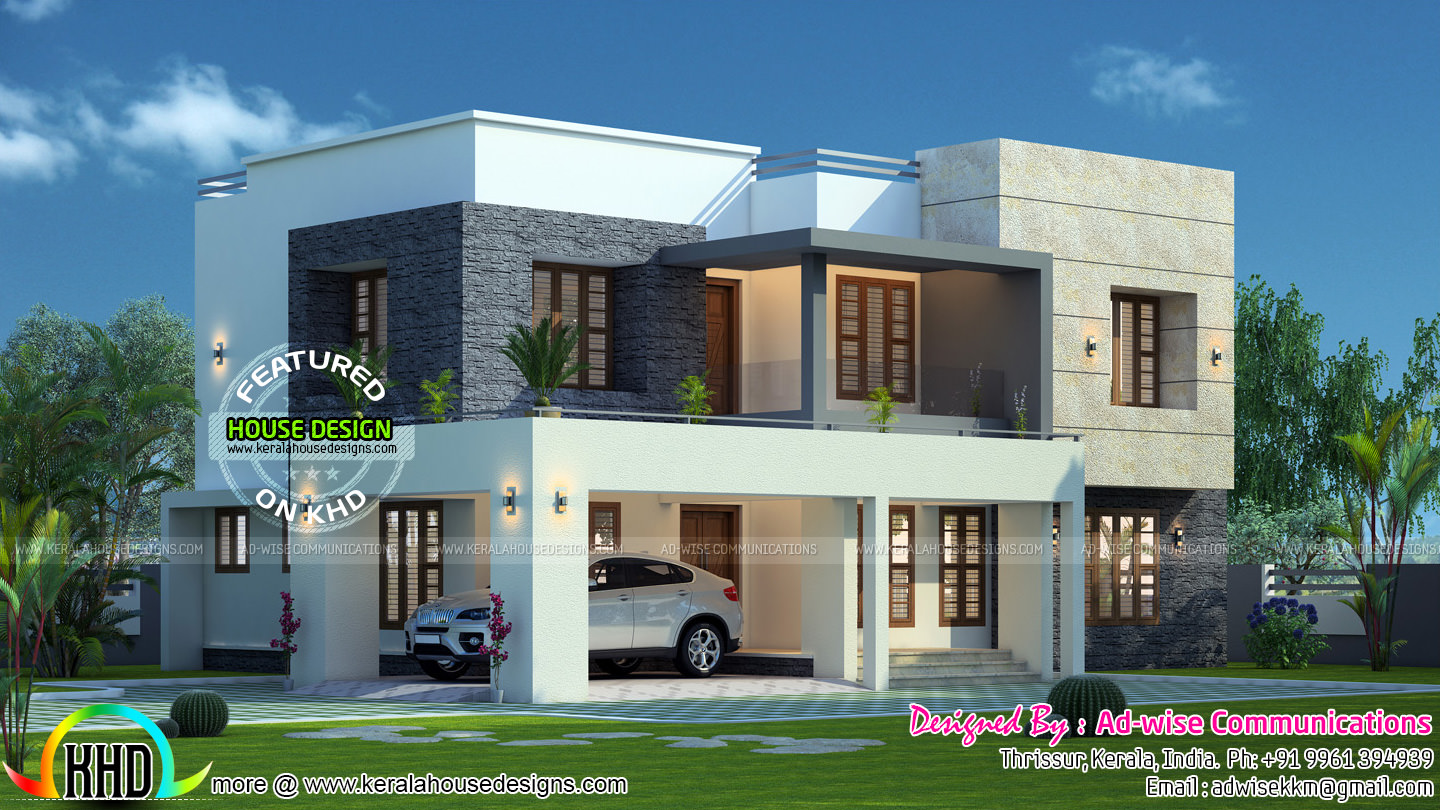 Flat roof 3 bedroom house kerala home design and floor plans for 2 bedroom house designs in india