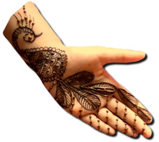 Peacock Mehndi Designs for Front Hand