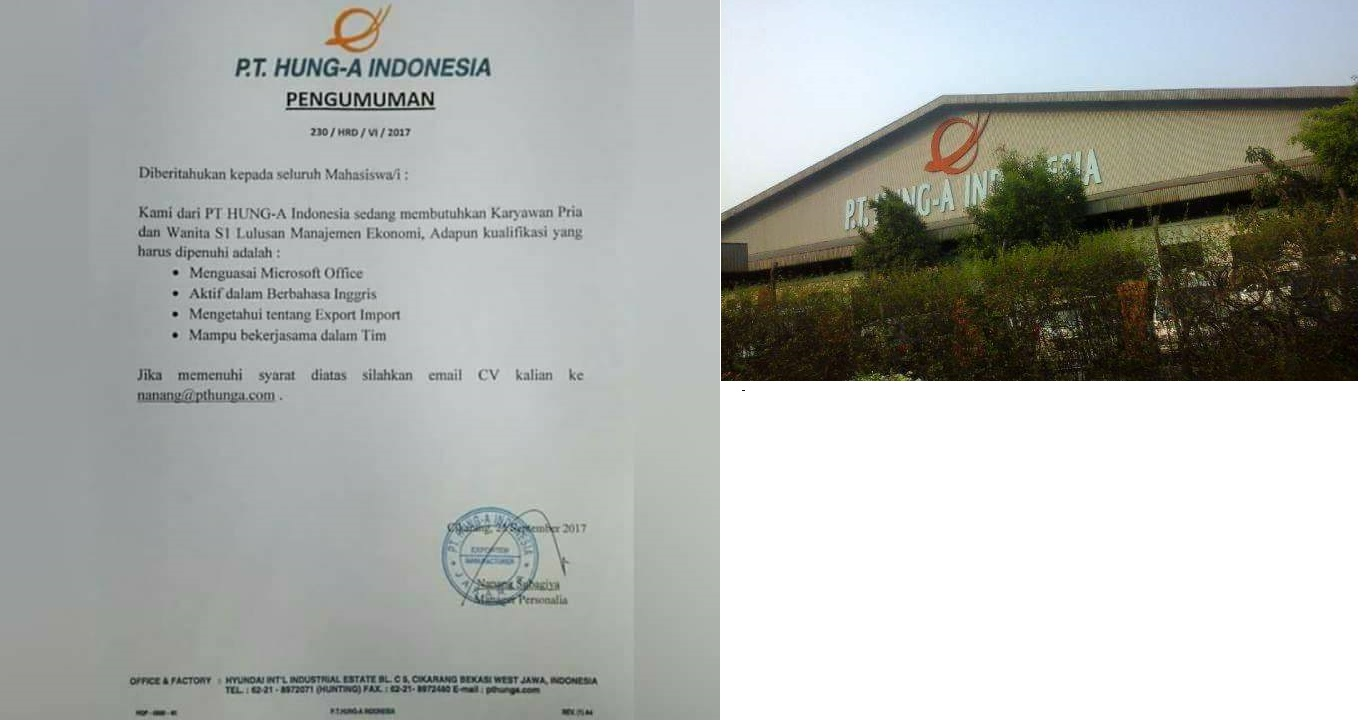 Informasi Lowongan Kerja PT. HUNG-A Indonesia Terbaru Cikarang Sel., Bekasi, Jawa Barat