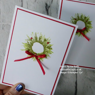 Painted Harvest Christmas Wreath stampin up card
