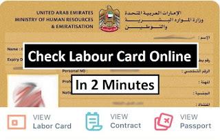 UAE Labour Card Online status, UAE Labor Card online check, UAE Labor Card status