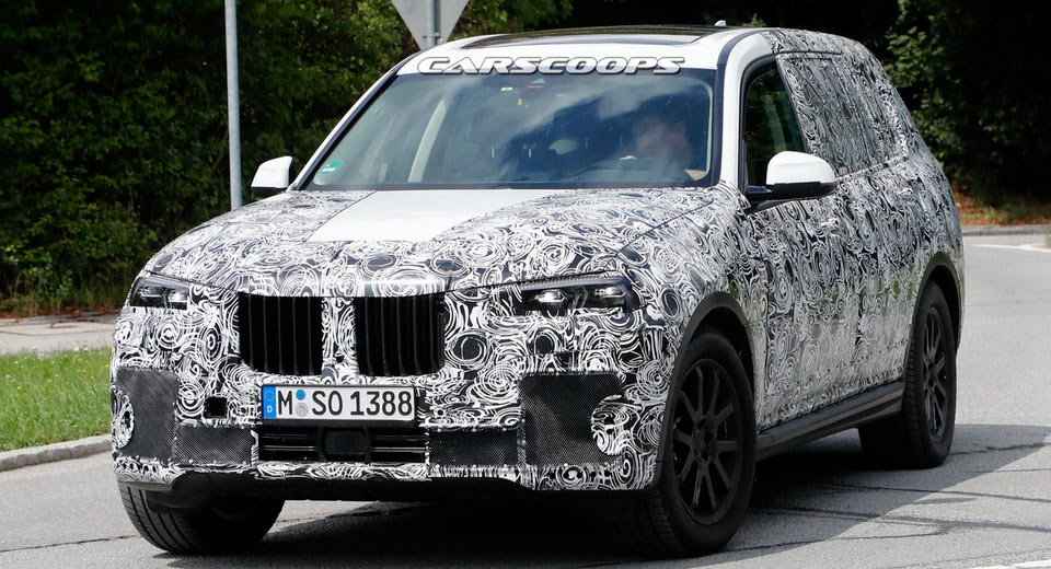 BMWs Upcoming Full Size X7 SUV Was Spotted Again During Some Testing On Public Roads And This Time The Prototypes Were Wearing A Set Of Production
