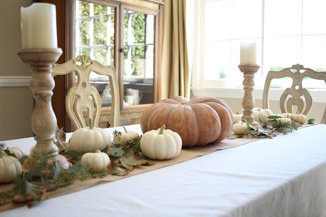 fall home tour autumn tablescape neutral with pumpkins and leaves