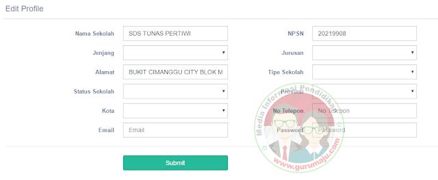 Silahkan Lengkapi Form Profil sekolah Anda