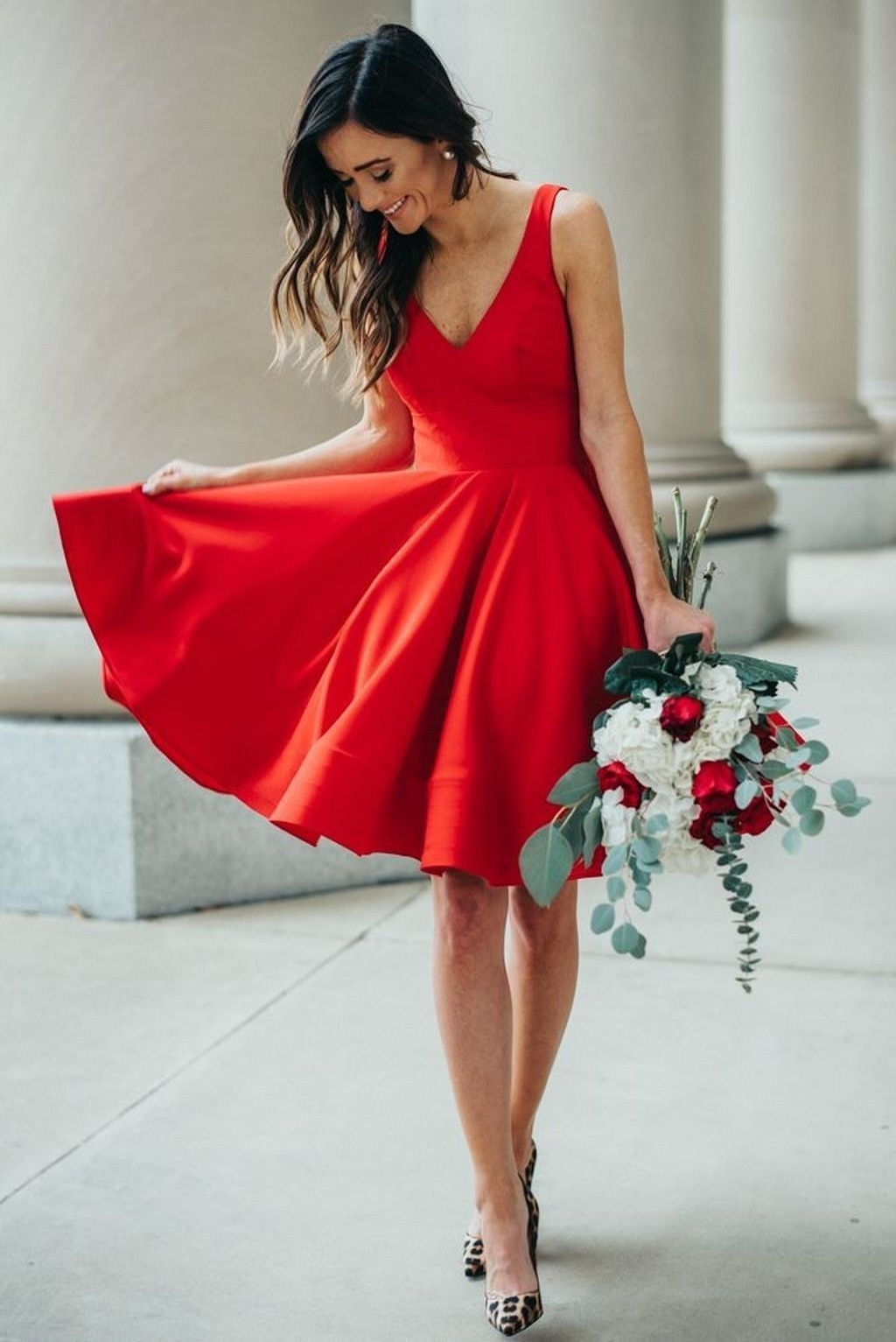 perfect look for hot date / red dress and heels