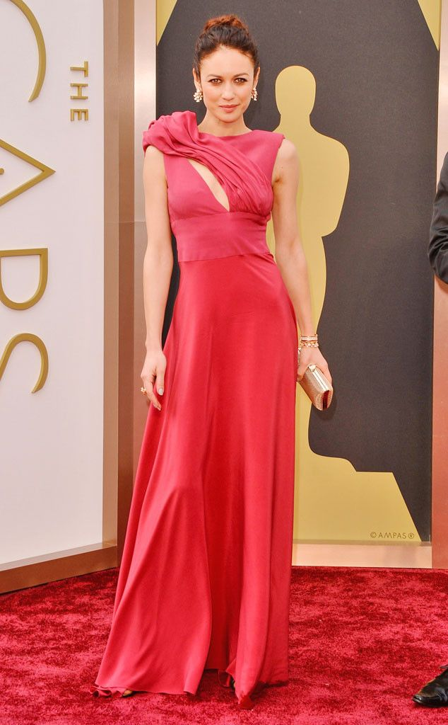 Olga Kurylenko in a red and eco-friendly Alice Elia dress at the Oscars 2014